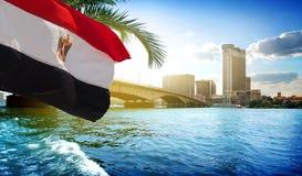 Flag and Cairo bridge Stock Photography