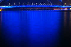 Bridge nocturne. The nocturne of Nanzhonghuan Bridge in Taiyuan, Shanxi, China Royalty Free Stock Image