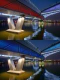 Bridge nocturne. The nocturne of Jifen Bridge in Taiyuan, Shanxi, China Stock Photos