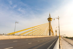 Bridge in Nonthaburi Thailand. Maha Chesadabodindranusorn Bridge in Nonthaburi Thailand royalty free stock image