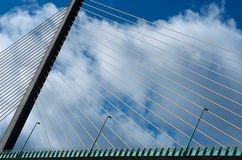 Bridge in Normandy, France, bridge details, lines, bridge fragment with cloud blue sky background, architecture, architectural Stock Images