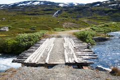 Bridge In Norway With Mountains Stock Image