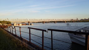 Bridge. In Novosibirsk over river Royalty Free Stock Photos