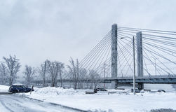 Bridge on a snowy day Stock Image