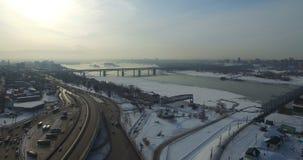 Bridge through Ob river in Novosibirsk. Communal bridge through Ob river in Novosibirsk at winter stock video