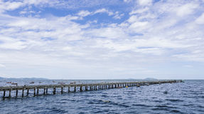 Bridge and Ocean with blue sky landscape Stock Photos