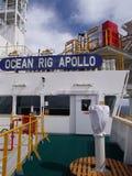 Bridge of Ocean Rig Apollo Drillship. Nameboard of the drillship Ocean Rig Apollo from starboard bridge wing looking towards bridge Stock Images