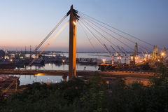 Bridge. Odesa port in the evening Royalty Free Stock Image