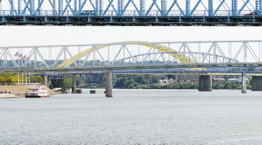 Bridge on the ohio river. One of Cincinnati's historical bridges over the Ohio river stock images