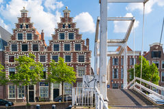 Bridge and old brewery at Spaarne, Haarlem, Netherlands Royalty Free Stock Photo