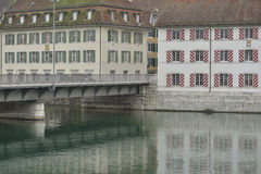 Bridge and old buildings from Solothurn city Royalty Free Stock Photography