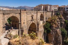 Bridge in the old city of Ronda, Spain Royalty Free Stock Images