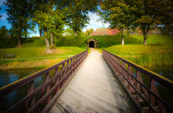 Bridge into old fortified town. In Fredrikstad Norway royalty free stock image