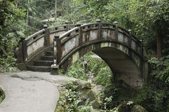Bridge. Old stone arch bridge in forest Stock Photography