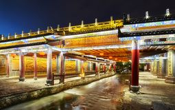 Bridge in old town of Lijiang at night, China. Royalty Free Stock Photos