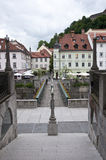 Bridge in old town of Ljubljana Royalty Free Stock Photo