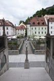 Bridge in old town of Ljubljana Royalty Free Stock Photo