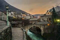 Mostar Bridge at Twilight. Bridge in Old Town, Mostar, Bosnia Europe Stock Image