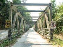 Bridge with one way singn Stock Photo