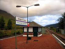 Bridge of Orchy train station. Haunting skies over platform at the Bridge of Orchy train station Stock Images