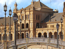 Bridge and ornate building in Plaza de Espana, Seville, Spain Royalty Free Stock Photos