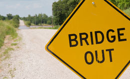 Bridge out -sign ahead of a flooding covered road Royalty Free Stock Photo