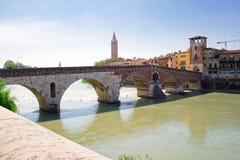 A bridge over Adige, Verona Stock Photo