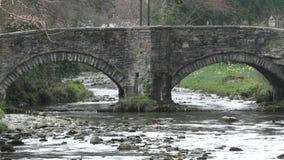 Bridge over Afon Colwyn at Beddgelert Wales stock footage
