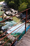 Bridge over Alpine river Soca / Isonzo Stock Photo
