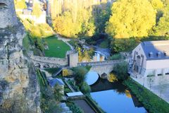 Bridge over Alzette river in the Luxembourg City Royalty Free Stock Images