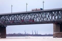 Bridge over Amur river in Khabarovsk Royalty Free Stock Photos