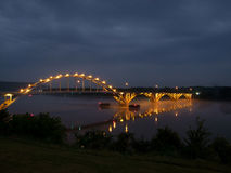 Bridge over Arkansas River in Ozark Arkansas. Ozark Arkansas Bridge Lit up at Night Over Arkansas River Royalty Free Stock Photography