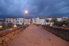 Bridge over Aude river in town of Limoux Stock Image