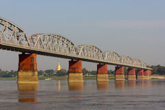 Bridge over Ayeyarwady River, Myanmar Stock Photos