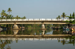 Bridge over the backwaters, Kerala, South India Royalty Free Stock Photography