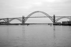 Bridge over bay. A long bridge over a bay in Oregon stock images
