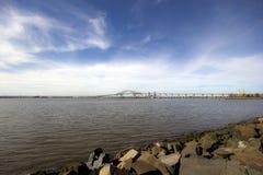 Bridge over a bay. Landscape of a bridge extending over Newark bay stock photography