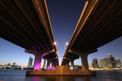 Bridge over the Biscayne Bay, Miami Stock Photos