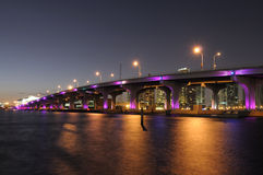 Bridge over the Biscayne Bay in Miami Royalty Free Stock Images