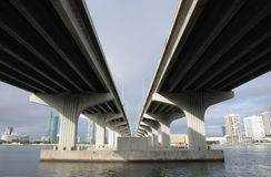 Bridge over the Biscayne Bay, Miami Royalty Free Stock Photos