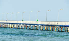The bridge over Black Sea, seafront and seaside with blue water Stock Images