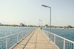 The bridge over Black Sea, seafront and seaside with blue water, Royalty Free Stock Photo