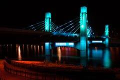 Bridge over Brazos River illuminated by LED in Waco, Texas / Light painted bridge. Bridge over Brazos River illuminated by LED in Waco, Texas.nLight painted stock photography
