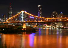 Bridge Over Brisbane. A night shot of the Brisbane River in Queensland, Australia Stock Photography