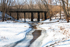 Bridge over a brook in winter forest Stock Image