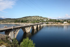 Bridge over the Burguillo Reservoir. Avila, Spain Stock Images