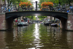 Bridge over the canal, Amsterdam. Bridge over the canal at Amsterdam stock photos