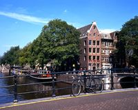 Bridge over canal, Amsterdam. Stock Photography