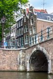 Bridge over canal in Amsterdam. Holland Stock Images