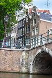 Bridge over canal in Amsterdam. Holland Stock Image